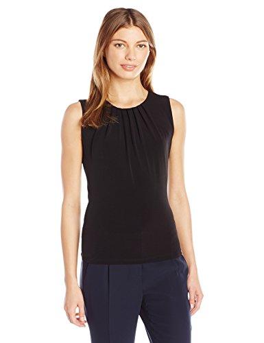 Calvin Klein Women's Solid Pleat Neck Sleeveless Cami, Black, 2