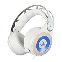 XIBERIA T18 Gaming Headphones 7.1 Virtual Surround Sound Over-Ear Gaming Headset with Retractable Microphone (White)(USB)