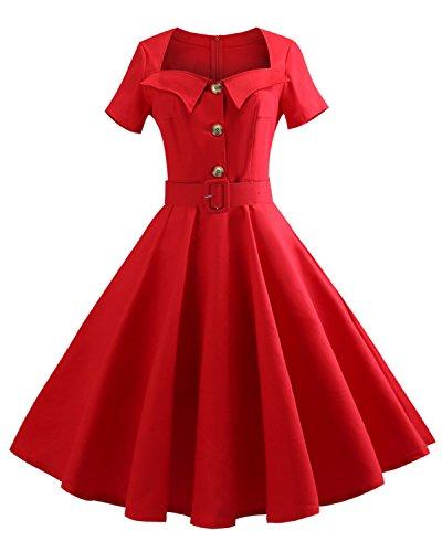 ZAFUL Women 1950s Vintage Dress Short Sleeve V Neck Floral Print Swing Party Dress
