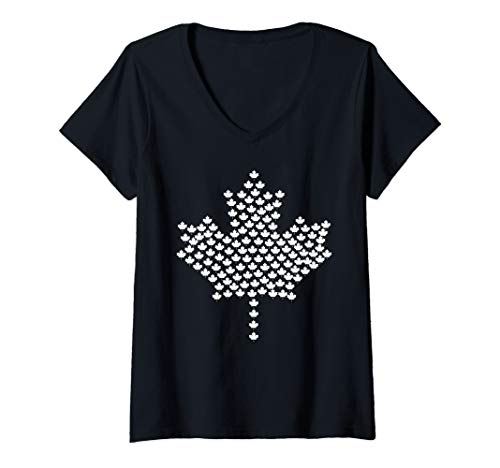 (Womens Canada Flag Symbol Maple Leaf Silhouette Patriotic Gift  V-Neck T-Shirt )