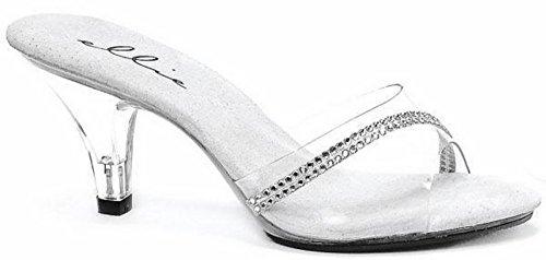 Ellie Shoes Women's 3 inch Heel Clear Mule with Rhinestones (Clear;8)