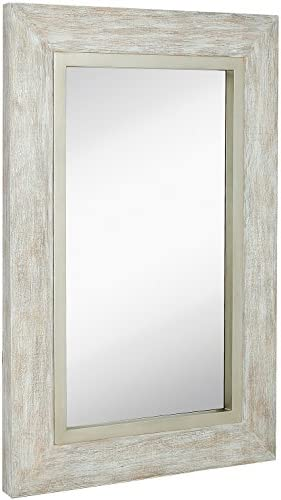 Hamilton Hills Large White Washed Framed Mirror Beach Distressed Frame Solid Glass Wall Mirror Vanity, Bedroom, or Bathroom Hangs Horizontal or Vertical 24 x 36
