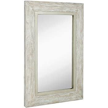 Amazon.com: Distress Distressed Finish White Wood Frame Wall Mirror ...