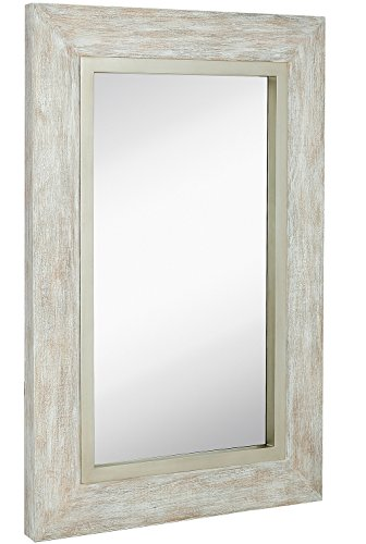 Hamilton Hills Large White Washed Framed Mirror | Beach Distressed Frame | -
