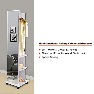 """Yescom 67"""" Rolling Full Length Mirror Storage Cabinet Armoire Bedroom Free Standing Tower White from Yescom"""