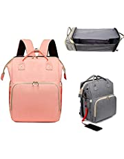 CHSYWH Diaper Bag Backpack, 5 in 1 Portable Diaper Changing Station, Detachable Foldable Baby Bed