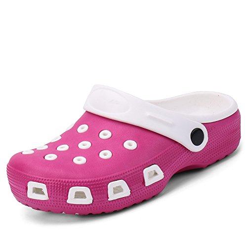 Zefani Kid's Non-Slip Summer Garden Clogs Cute Children Beach Slipper Sandals Pink White 12 M US Little (Eva Kids Clogs)