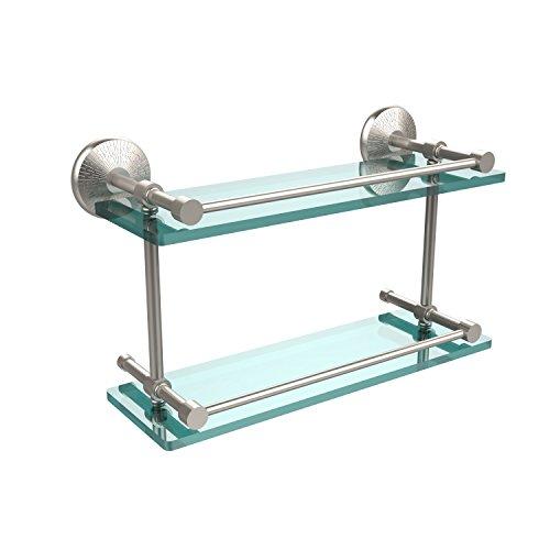 Allied Brass MC-2/16-GAL-SN Monte Carlo 16 Inch Double Glass Shelf with Gallery Rail Satin Nickel