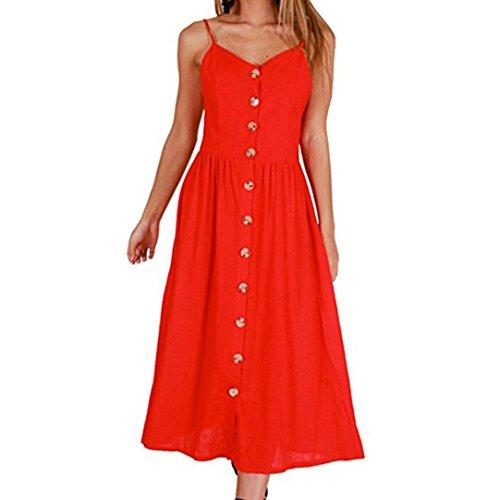 BBsmile Vestidos de mujer,Vestidos largos mujer, Vestido de fiesta largo Sexy del verano de mujeres Boho Vestido de playa vestido de fiesta largos de noche elegantes Rojo