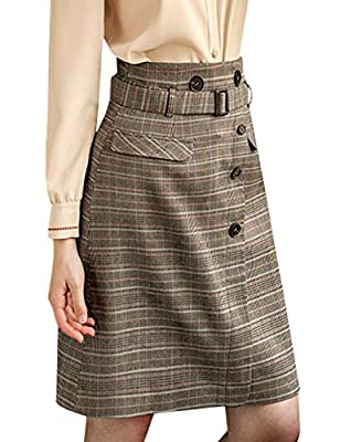 Tanming Women's High Waist Back Zipper Plaid A Line Skirts with Removable Belt