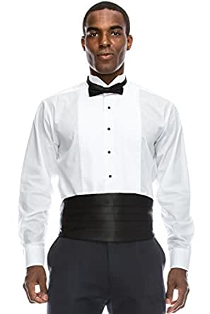 JC DISTRO Regular Fit Formal Dress Shirt 1/8 Pleated Tuxedo Shirt (XS), 13-13.5N-32/33S