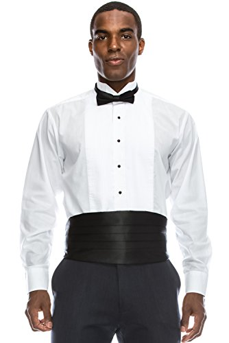 JC DISTRO Regular Fit Formal Dress Shirt 1/8 Pleated Tuxedo Shirt (XS), 13-13.5N-32/33S