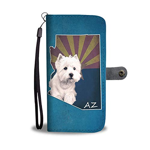 Arizona State Credit Card - Cute Westie Printed Leather Wallet Case for Samsung, iPhone, LG, Goole Pixel, Huawei, HTC, Motorola, Xiaomi- Dog Printed Magnetic flip Cover with Card Slots Wrist Strap - Arizona State