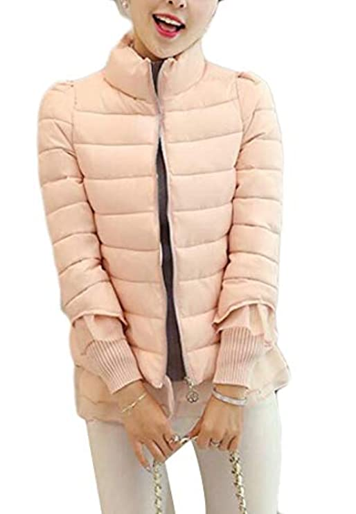 Womens Sleeve Long Stampa Down Stand Hem Ruffle Classic Alion Collar Puffer Jacket d1BqnwwX