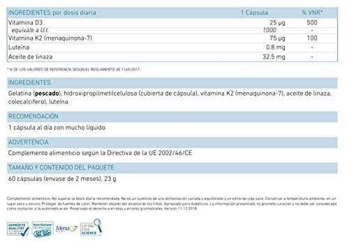 Biogena Vitamin D3 & K2 - Preparado dúo con las vitaminas D3 y K2 ...
