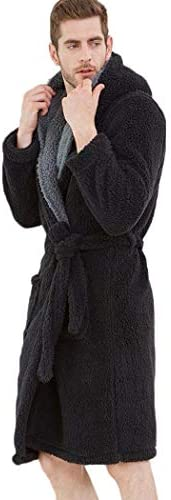 ンパジャマ メンズフリーススーパーソフトは、フード付きのナイトローブでガウンバスローブの暖かく、居心地のよいドレッシング -4561