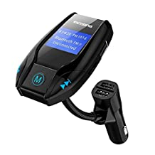 VicTsing FM35 FM Transmitter, Wireless Bluetooth FM Transmitter Radio Adapter Car Kit with Dual USB Charger Port Support TF Card/U Disk Memory up to 32G, Car Charger MP3 Player Supports Aux Input, for iPhone & Android Smartphone, Black