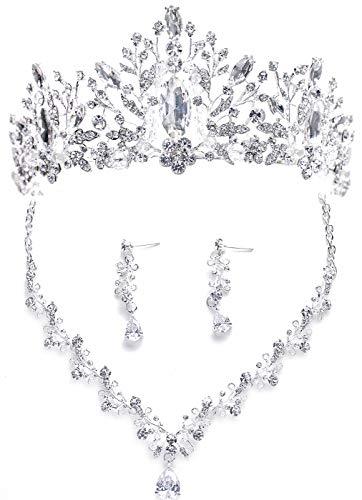 Bride Headdress Jewelry Wedding Necklace Earrings Set Crystal Crown Tiara A