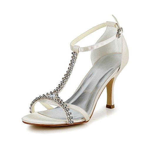 Jia Chaussures De Mariée Pour Femme 1413 Bout Ouvert T-strap Mi Talon Sandales En Satin Strass Mariage Champagne