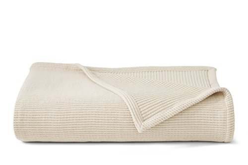 Grund Sea Pines 100% Organic Cotton, Ultra Soft, 50-inches by 70-inches, Ivory, Throw Blanket