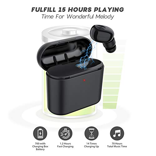 Bluetooth Earbuds, AFONE Mini Wireless Headphones With Light Charging Box Car Headset for iPhone X 8 7 6 Plus/Samsung Android Smartphone/iPad – [One Pcs]