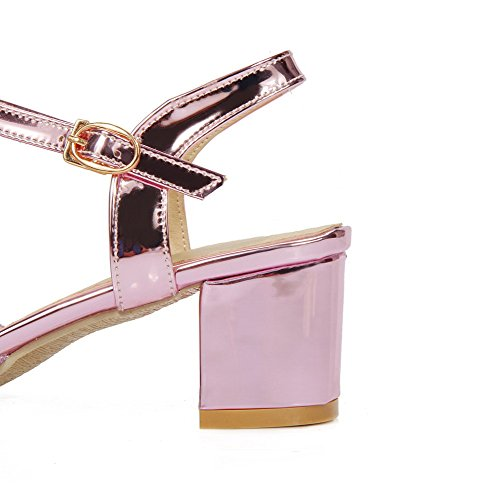 Buckle VogueZone009 Closed Materials Pink Heels Blend Sandals Toe Women's Kitten wxCpq5f