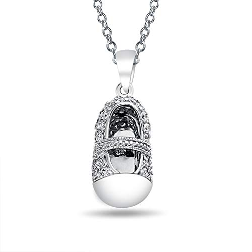 - Engravable AAA CZ Baby Shoe Charm Pendant Necklace For New Mother Women Cubic Zirconia 925 Sterling Silver