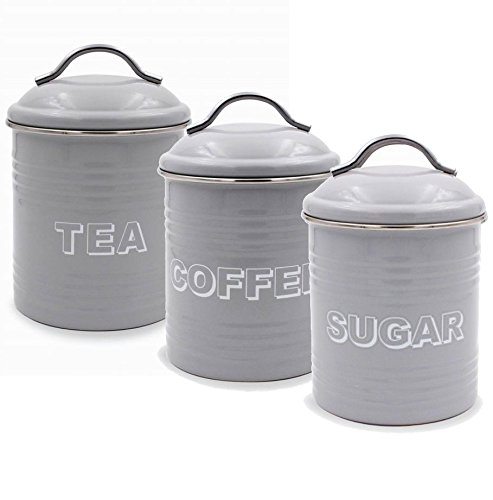 Home Sweet Home Grey Enamel Set Of Three Tea Coffee Sugar Tins Lesser And Pavey