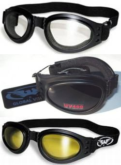 3 Burning Man Motorcycle Goggles & Storage Bags/Pouches Clear Smoked Yellow Dust Storm Fold for Easy Storage G V