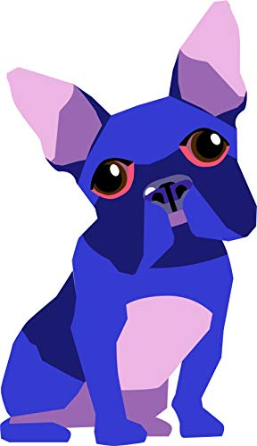 - Cute French Bulldog Black Blue Color Friendly Playful Pet Love Cartoon Vinyl Sticker (2