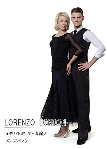 (アールエスアトリエ) RS Atelier 「LORENZO London(Grey Stripe Grey)」|男性用パンツ| 社交ダンス|レッスンウェア|ダンス|メンズ|男|男性|パンツ|スタンダード|競技|モダン|タンゴ|ワルツ|デモ|ストレッチ B072X8MYGN   48(86cm)サイズ