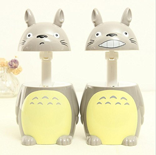TiptonLight Gray Table Lamp Lovely Totoro Small Table Lamp with Two Growl and Smile Retractable Easy to Carry Simple Style for Reading,Lighting,Decoration