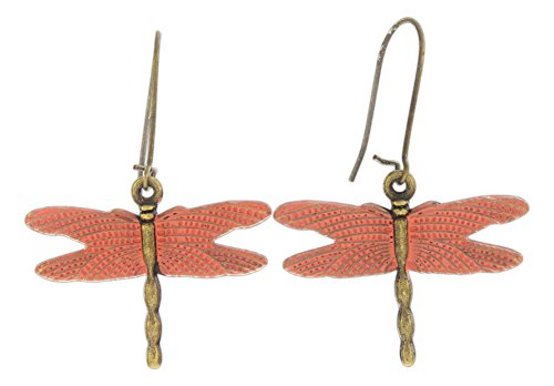 Dreamspirit Nickle Free Brass Antique Style Kidney Ear Wire Earrings - Animals (Dragonfly)