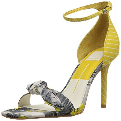 Yellow Multi Print - Dolce Vita Women's HELANA Heeled Sandal, Yellow Multi Floral Print, 8.5 M US