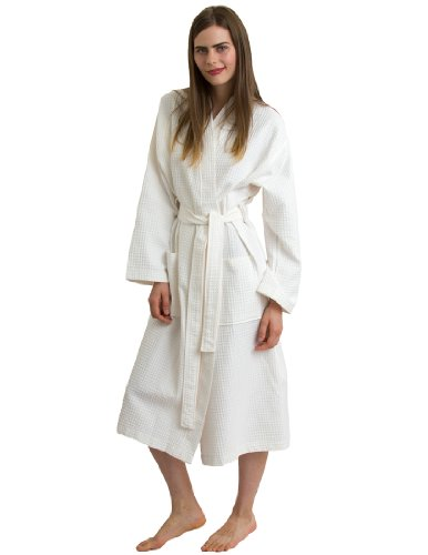 TowelSelections Turkish Bathrobe Waffle Kimono Robe for Women and Men X-Small/Small Ivory