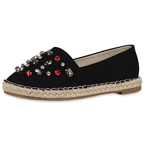 Japado Komfortable Damen Espadrilles Bequeme Slipper Funkelnde Glitzerapplikationen Modische Sommer Schuhe Gr. 36-41 Schwarz Steine