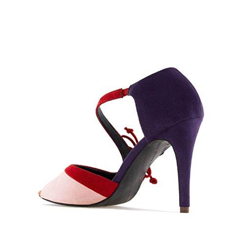 Andres Machado AM5247.Sandales Multicolore en Suèdine.pour Femmes.Petites et Grandes Pointures 32/35 et 42/45 Violet UHcMMES