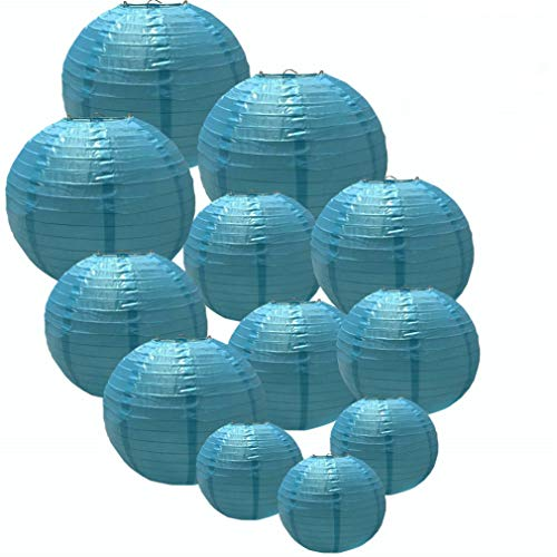 Gttech Blue Lanterns Decorative Lantern for Both Indoor and Outdoor Events Like Valentine's Day Christmas Birthday Reunion Baby Shower Wedding 12 Packs Waterproof with Different Sizes [Blue] (Lanterns Waterproof Paper)