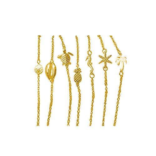 Lateefah Beach Anklet for Women Foot Chain Anklet Bracelet Jewelry Set for Women Teen Girls(7 (Best Palm Beach Jewelry Bracelets)