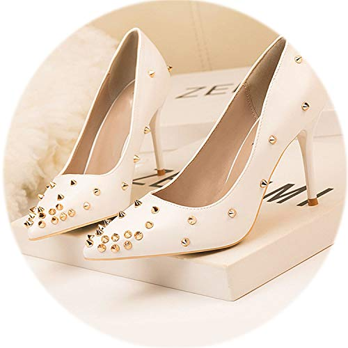 AMAZING AMAZING 2019 Rivets Pointed Toe Women Pumps Solid PU Leather Women's Sexy Party Shoes,White,9 ()