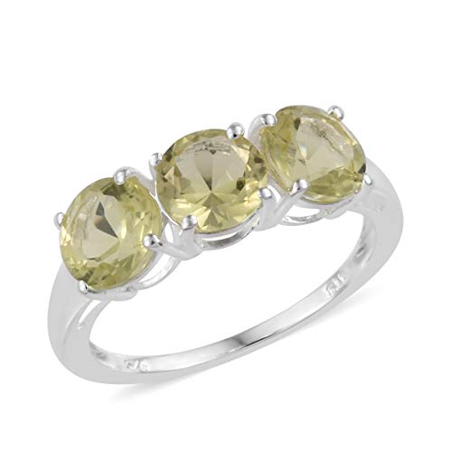 Quartz Silver Sterling Ring Lemon - 925 Sterling Silver Round Lemon Quartz Trilogy Ring for Women Jewelry Size 7 Cttw 3.2