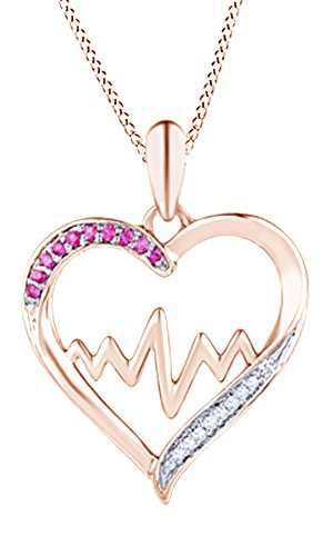Jewel Zone US Mothers Day Jewelry Gifts Simulated Pink Sapphire and Diamond Heartbeat Heart Pendant Necklace in 14k Rose Gold Over Sterling Silver