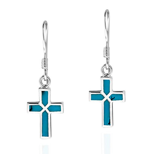 Mini Cross Inlaid Simulated Turquoise .925 Sterling Silver Dangle Earrings (Hook Earrings French Cross)