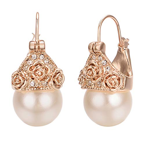 vogem Womens Leverback Dangle Earrings 10mm Simulated Pearl 18K Rose Gold Plated Art Deco Vintage Wedding ()