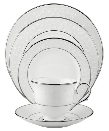 Lenox Opal Innocence Platinum-Banded Bone China 5-Piece Place Setting, Service for 1 - 5-piece fine dining place setting with sweet hand-enameled design Includes dinner plate, salad/dessert plate, bread and butter plate, teacup, and saucer Crafted from Lenox fine bone china - kitchen-tabletop, kitchen-dining-room, dinnerware-sets - 41M2K775CNL -