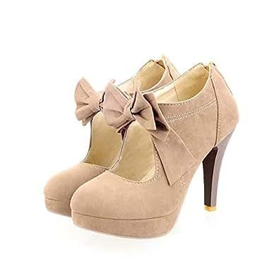Geddard Faux Suede Platform Pumps for Women Sweet Bowtie High Heeled Shoes Round Toe Back Zipper Dress Pumps Beige Size: 7.5