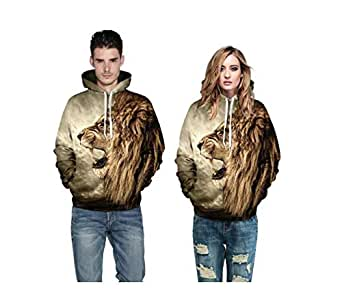 Fall/winter lovers 3D lion head printed hooded hoodies for men and women