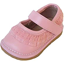 Squeaky Shoes Toddler Pink Leather Shoes with Ruffles