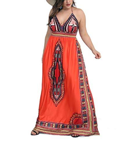 - Coolred-Women Halter African Wax Print V-Neck Dashiki Ethnic Style Dresses OG M