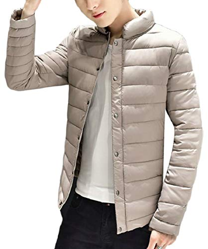 security Warm Leisure Winter Down Mens Zip Collar Apricot Jacket Quilted Coat Stand ArA1q